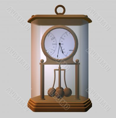 Dining rooms clock under a glass case
