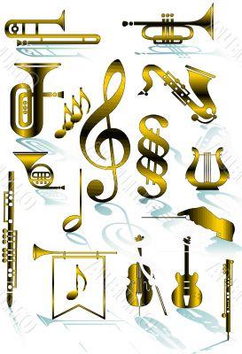 Symbols of musical instruments