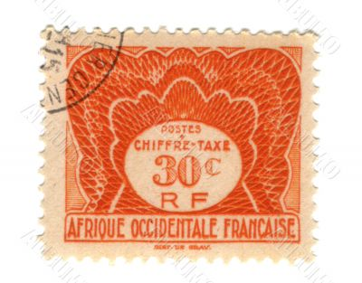 Old stamp from French West Africa 30c