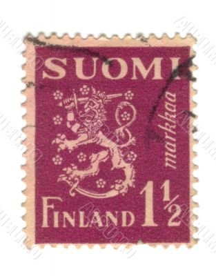 Old stamp from Finland with Lion