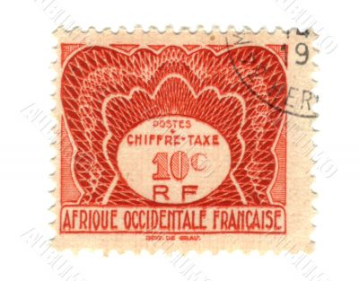 Old stamp from French West Africa 10c