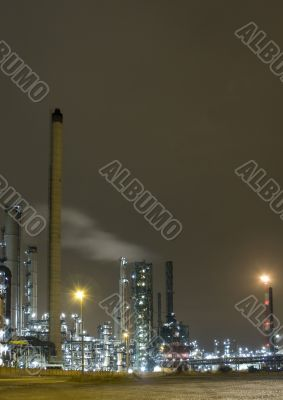 A night view of Industial plants