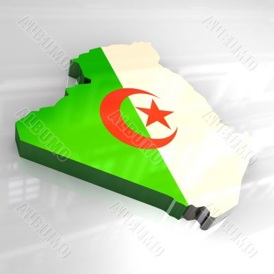 3d made flag map of algeria