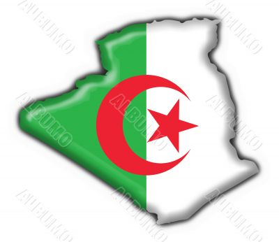 Algeria button flag map shape