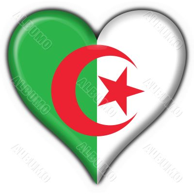 Algeria button flag heart shape
