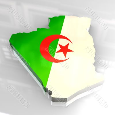 3d flag map of algeria