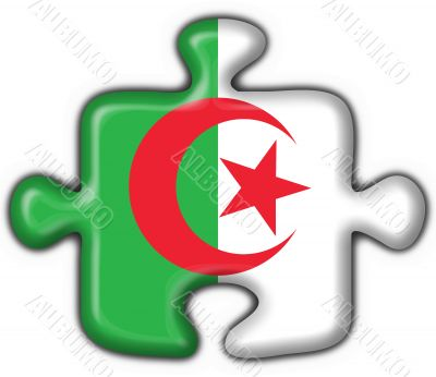 Algeria button flag puzzle shape