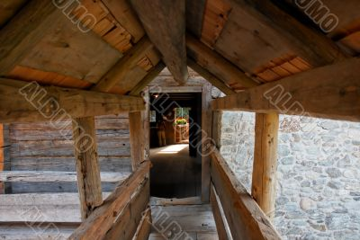 Wooden gallery in old farmer`s house