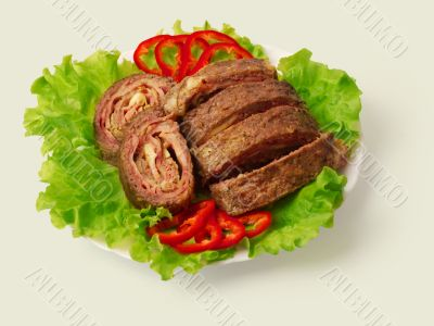 Fried meat roll decorated...