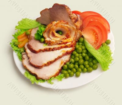 Cold boiled pork decorated...