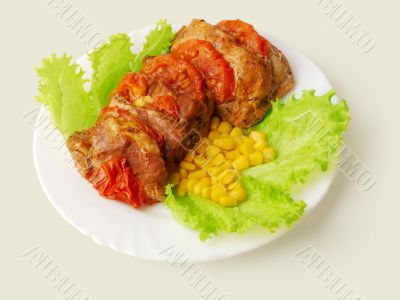 Meat fried in tomatoes decorated...