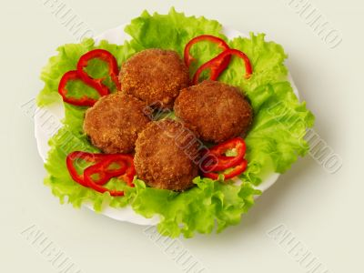Fried meatballs decorated...