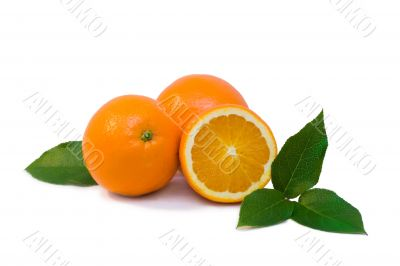 Some oranges with green leaves isolated objects