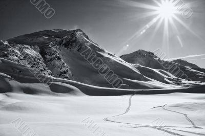 sunlit winter mountain landscape