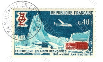 Old french stamp - Polar exploration 1968
