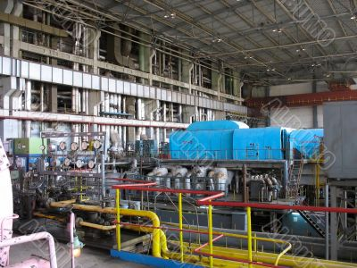 Machinery, tubes and steam turbine at a power plant