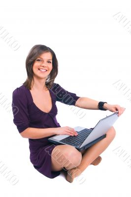 The girl with notebook computer