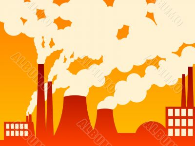 vector illustration of a factory belching out pollution