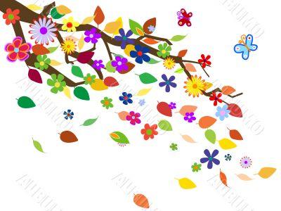 Spring flowers background vector illustration
