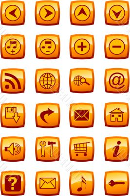 Vector illustration of glossy multimedia icon set