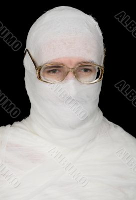 Sorrowful bandaged men in spectacles