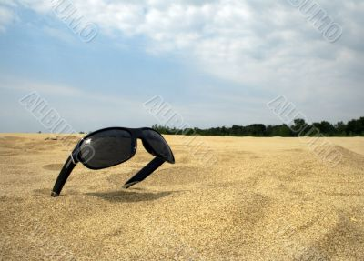 Sun glasses on a gold dust against the blue sky