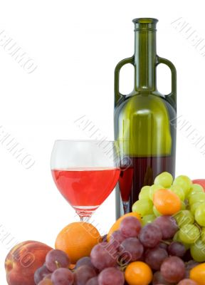Bright still life with wine and fruit