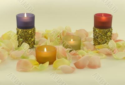 Color candles and with aromatic rose leave