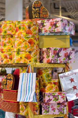 Heap of packing color gift boxes