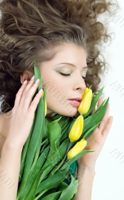 women beautiful portrait yellow flowers
