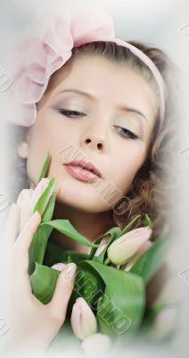 girl beautiful portrait pink flowers
