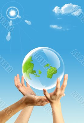Three hands and Earth