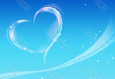 Heart and blue background