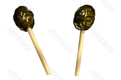 3d wooden honey sticks on white background