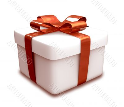 wrapped white and red gift - 3D made