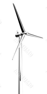 3d wind turbine mill white