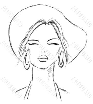Summer lady sketch