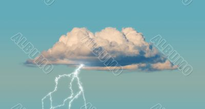 Cumulus cloud with lightning