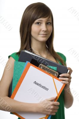 Female student with application