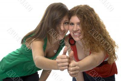 happy teenagers show joy