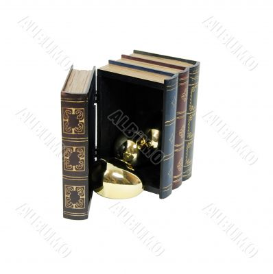 Golden eggs pouring from wooden book