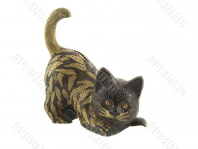 Bronze statuette of fun cat isolated over white