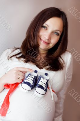 Pregnant and blue shoes