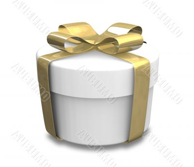 wrapped white and gold gift - 3D made