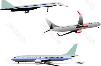 Three Airplane silhouettes