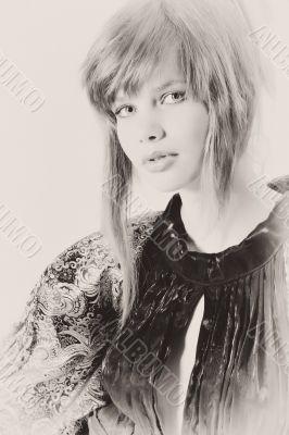 Beautiful teenage girl in classical dress in an antique fashion