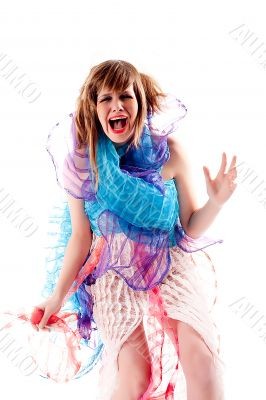 Teenage girl being hysterical in a special dress