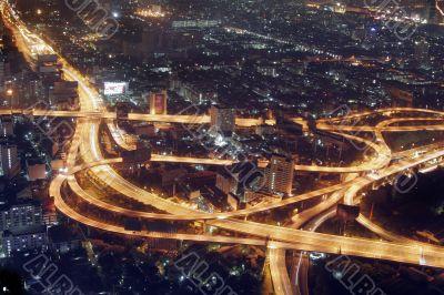 Bangkok night top view