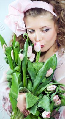 girl beautiful tulips pink