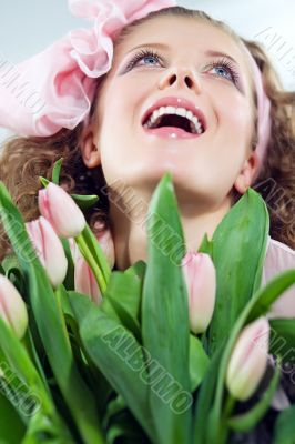 girl beautiful tulips pink flowers